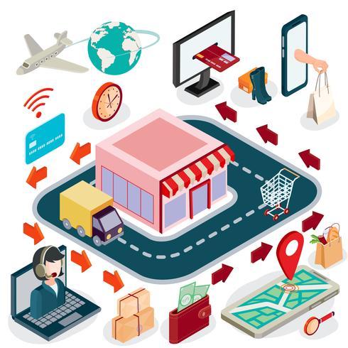 Isometrisk illustrationbegrepp av e-handel