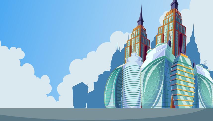Stadtlandschaft mit großen modernen Gebäuden.