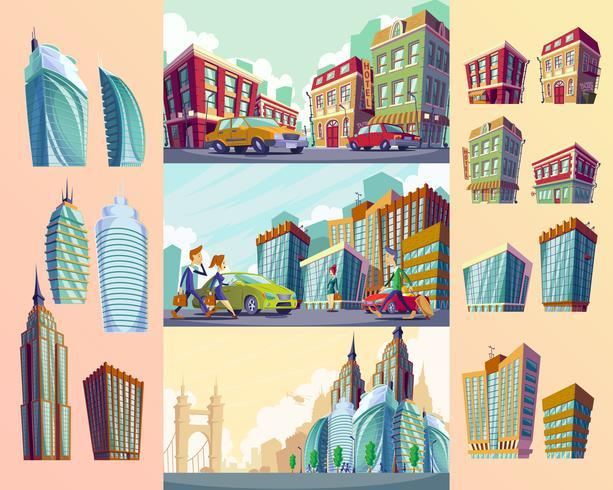 Insieme di vecchi edifici, grandi edifici moderni urbani, automobili e residenti urbani.