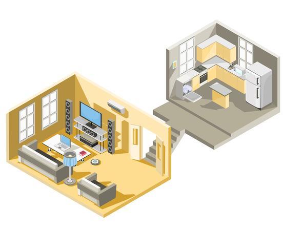 Isometrisches Design des Vektors eines Wohnzimmers und der Küche