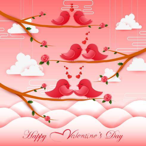 Paper cut birds style Happy Valentine's