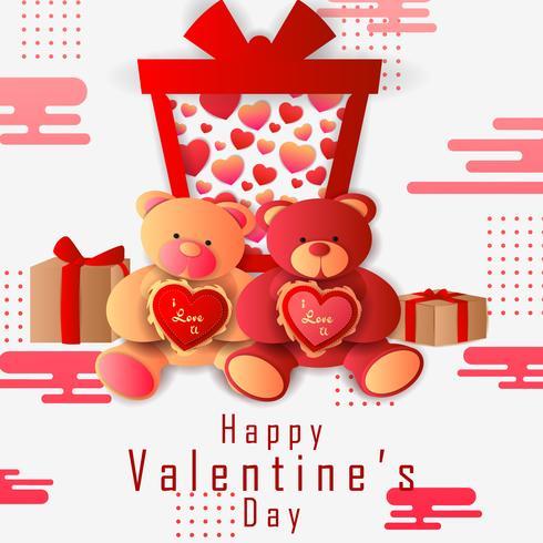 Papier gesneden stijl Happy Valentine's Day groeten achtergrond