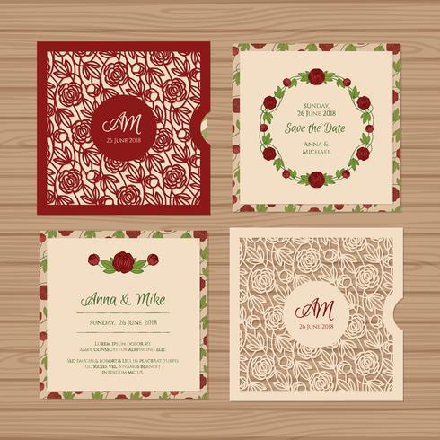 Quadratische Hochzeitseinladung oder Grußkarte