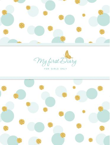 My first Diary template for notebook cover for girls vector