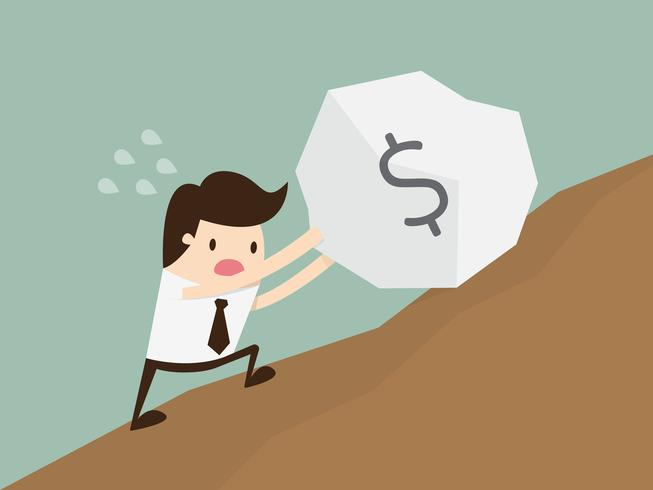 Business man pushing a huge stone with dollar sign uphill