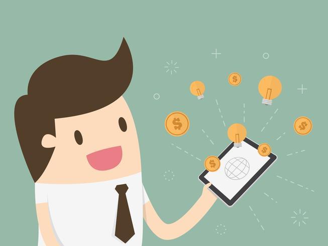Geschäftsmann mit dem Tablet-Computer und Geld und Idee, die vom Schirm erscheinen