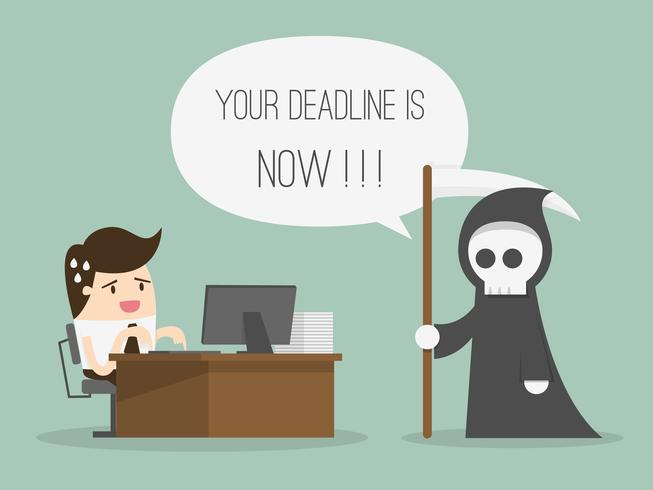 Man working at desk with grim reaper saying the deadline is now