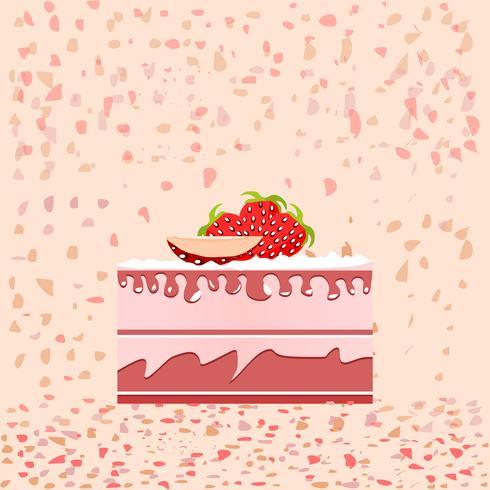 Fatia De Bolo De Aniversario No Fundo Rosa Download Vetores