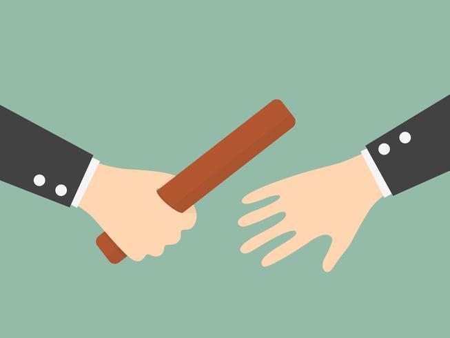 Zakenman Hand Passing Een Relay Baton