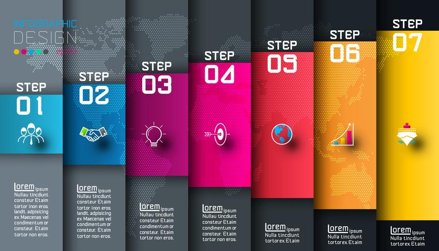 Seven colorful bars with business icon infographics vector