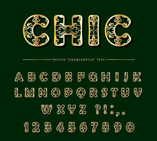 Golden luxury cut out decorative font