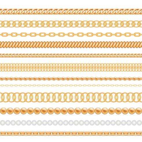 Set of gold chains and ropes isolated on white vector