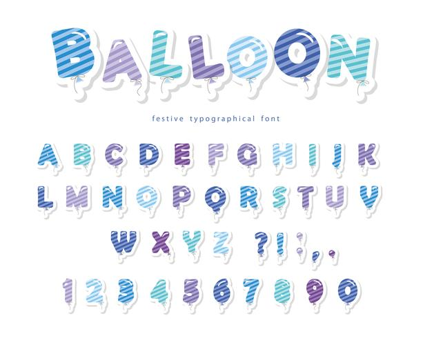 Balloon stripped blue font. Cute ABC letters and numbers vector