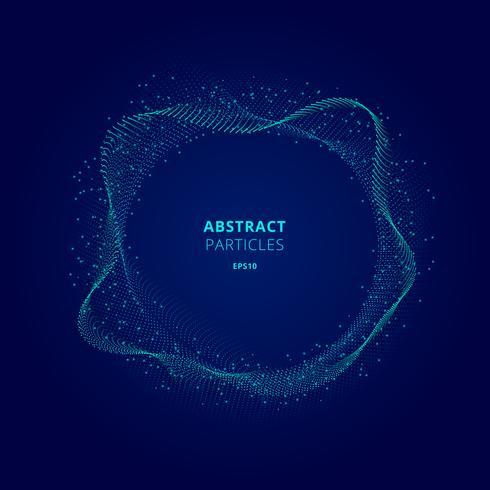 Illuminated blue circle shape of particles