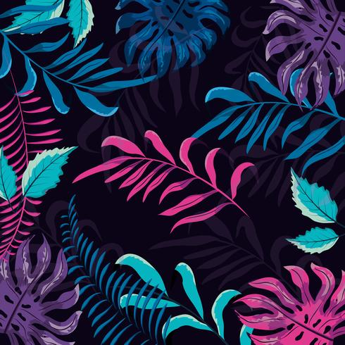 Motif floral tropical coloré