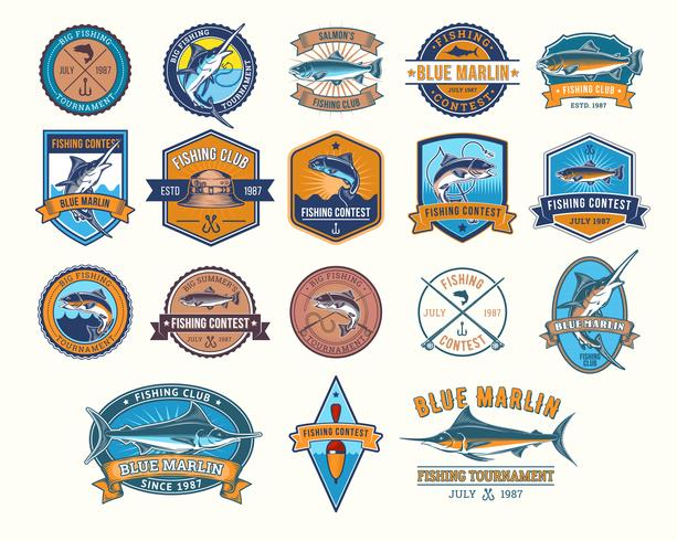 Set di badge vettoriali, adesivi per la cattura di pesci.