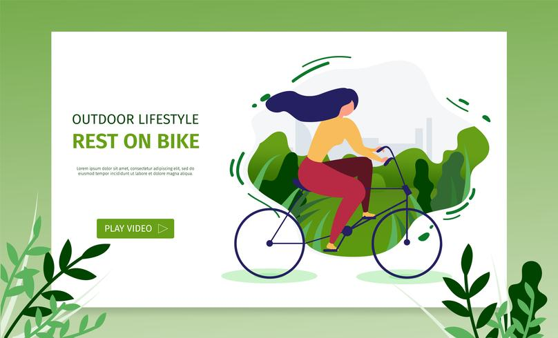 Active Girl Resting on Bicycle  vector