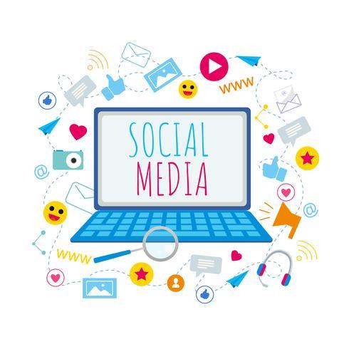 Social Media Symbols on Laptop  vector