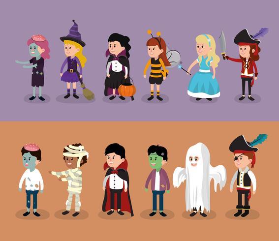 Set of Kids in halloween costumes vector