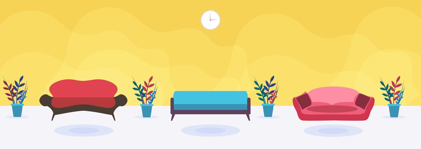Chambre avec différents canapés rembourrés moelleux