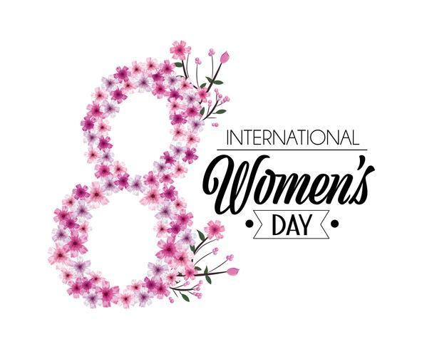 huit avec des fleurs pour la fête des femmes