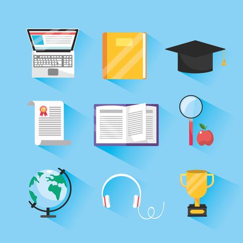 set of online study and education items vector
