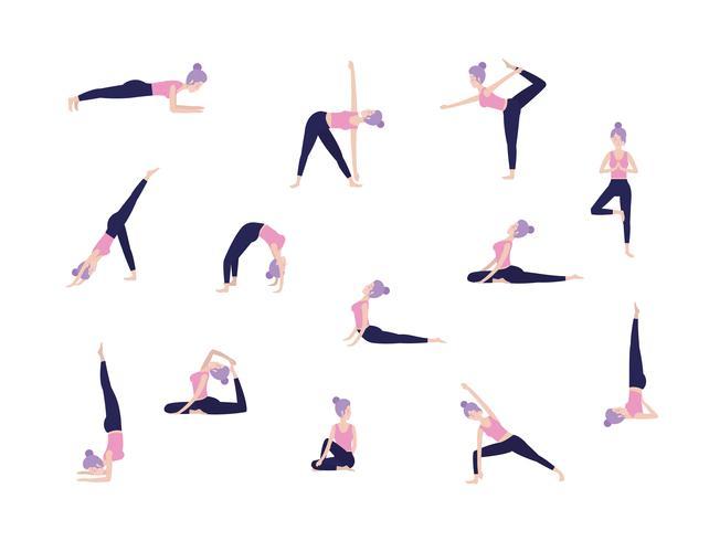 set di donne che fanno yoga pone vettore