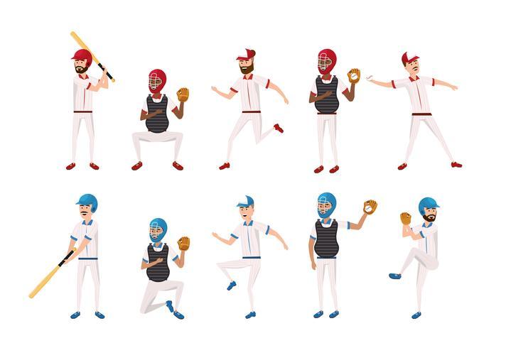 conjunto de jugadores profesionales de béisbol vector