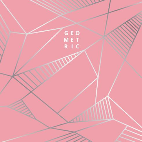 Silver geometric lines on pink vector