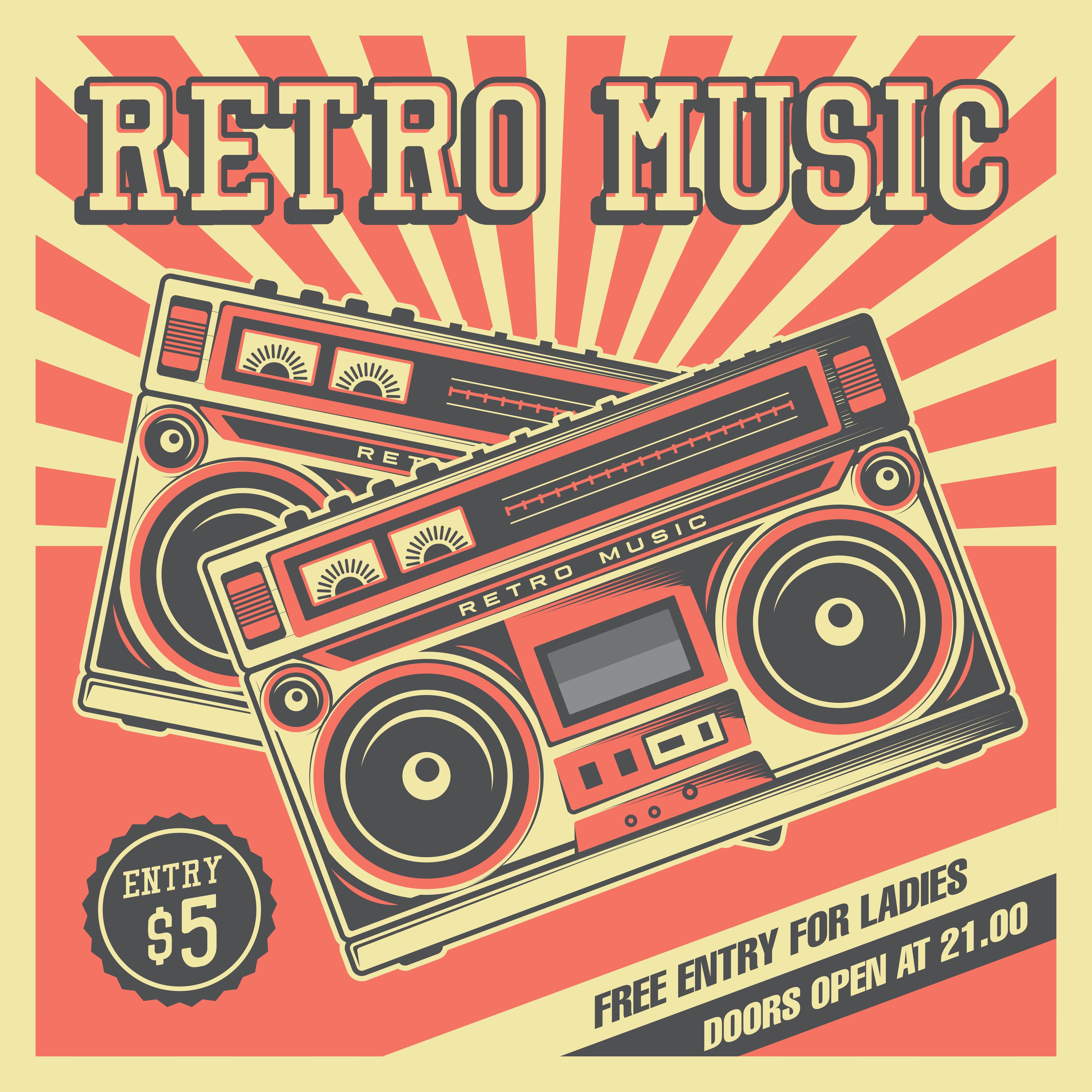 Retro Music Tape Recorder Vintage Signage - Download Free ...