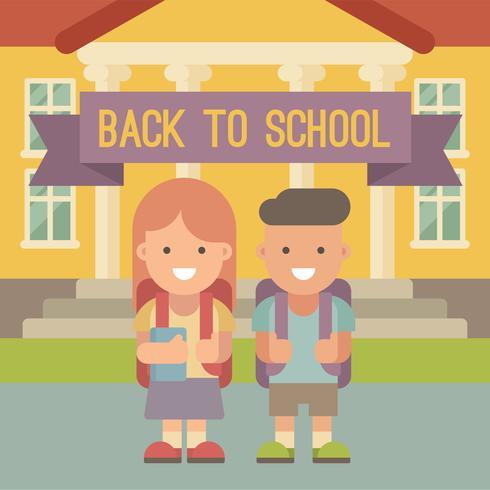Children with backpacks going to school. vector