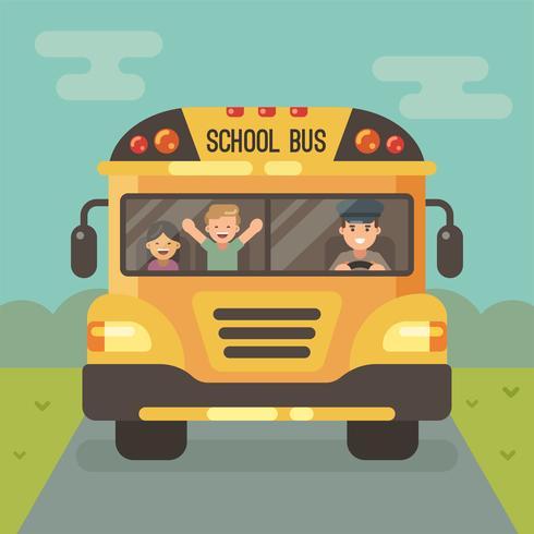Främre sikt av den gula skolbussen på vägen med en chaufför och två barn