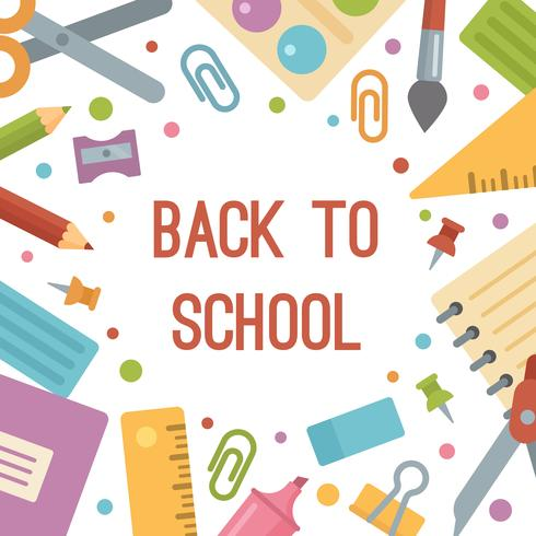 Back to school, stationery flat icons banner.