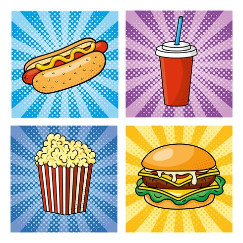 Conjunto de comida rápida pop art con hot dog, refrescos y hamburguesas vector
