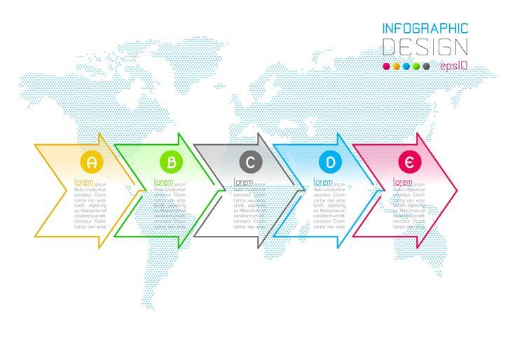 Business arrow labels shape infographic groups bar vector