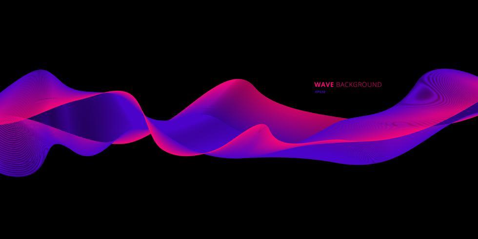 Brillante colorido ola azul y rosa sobre fondo negro vector