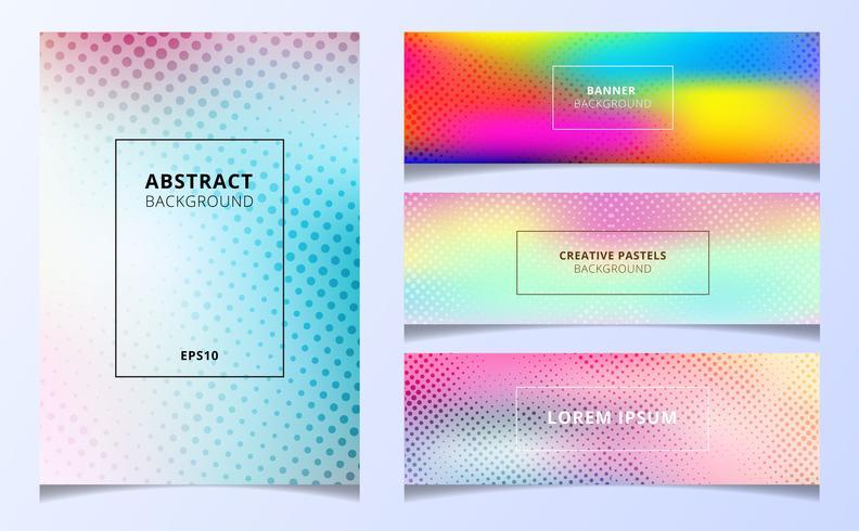 Set of holographic gradient halftone textures