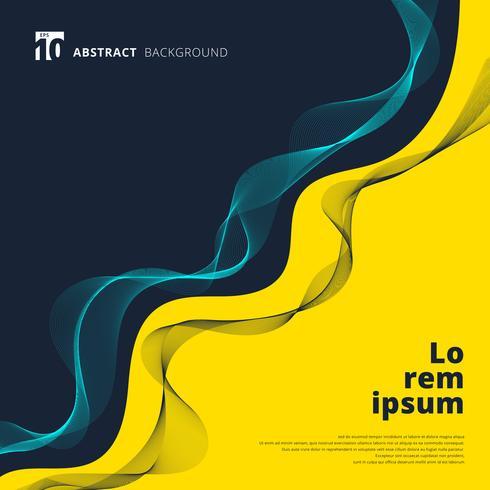 Curvy gelber und blauer Hintergrund mit dynamischen Linien