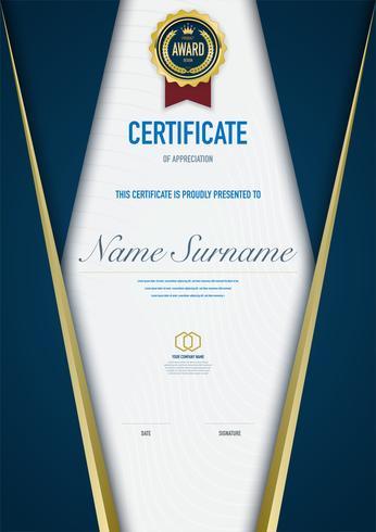 Plantilla de certificado de diploma de lujo