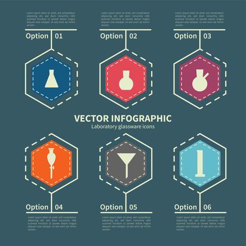 Plantilla de infografía con iconos de cristalería de laboratorio
