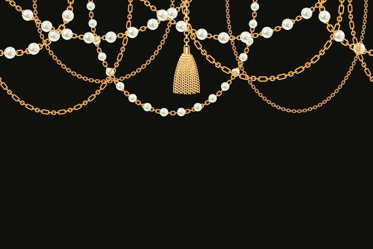 Collar metálico dorado con borla, perlas y cadenas.