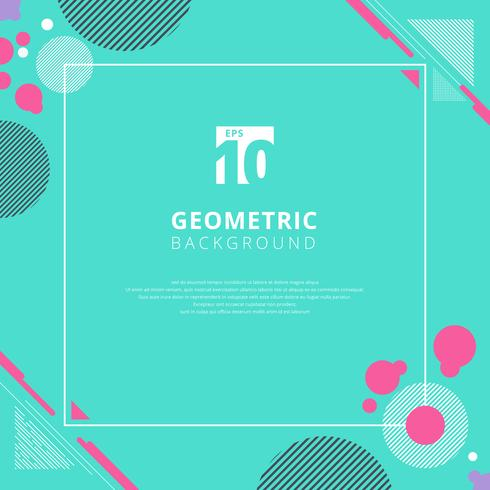 Patrón geométrico círculo rosa sobre fondo de color azul con espacio de copia