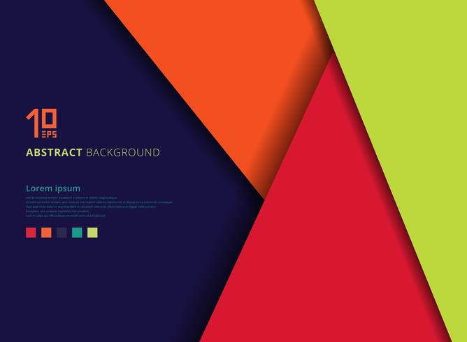Geometric colorful overlap layer on blue background with space for text. vector