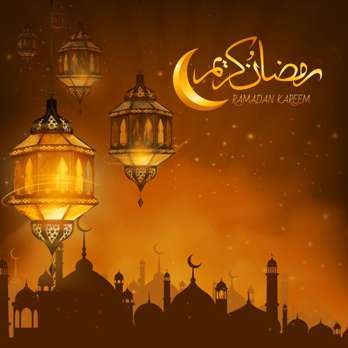 Ramadan Kareem or Eid mubarak illustration vector