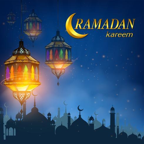 Ramadan Kareem oder Eid Mubarak mit Ramadan Lampe