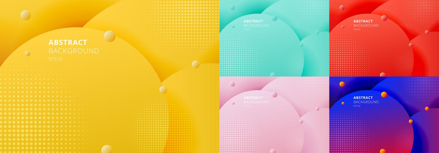 Vloeibare vloeistofcirkels die met halftone textuur worden geplaatst.