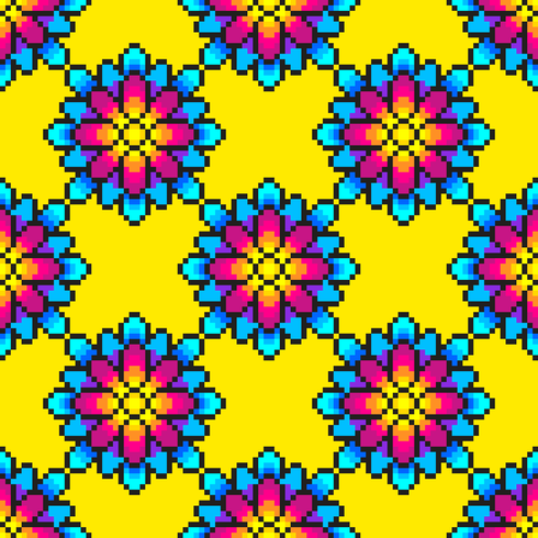 Colorful Pixel Art Flower Pattern Download Free Vectors