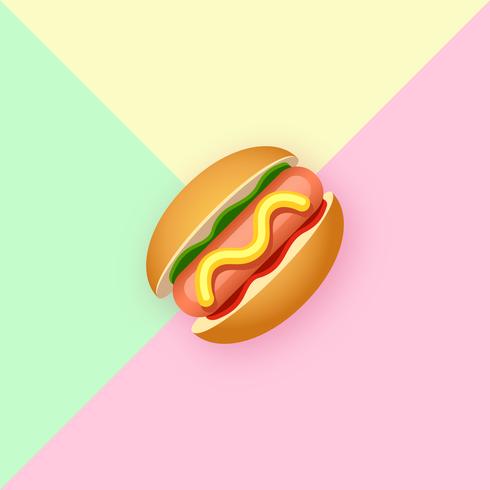 Stylish Hot Dog Pop Color Background vector