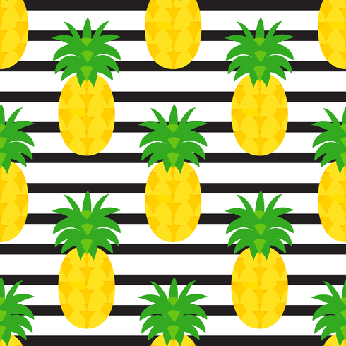 Pineapples On Black Striped Background vector