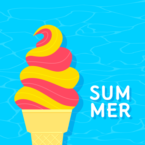 Summer Ice Cream On Water Background